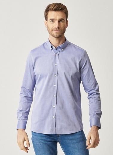 AC&Co / Altınyıldız Classics Tailored Slim Fit Dar Kesim İtalyan Yaka Armürlü Gömlek 4A2021100119 Mavi